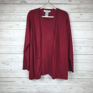 Victoria Jones Sweater Cardigan Red Plus Size 2X
